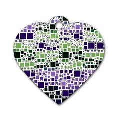 Block On Block, Purple Dog Tag Heart (one Side) by MoreColorsinLife