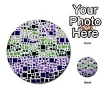Block On Block, Purple Multi-purpose Cards (Round)  Back 1