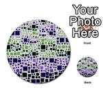Block On Block, Purple Multi-purpose Cards (Round)  Back 16