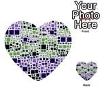 Block On Block, Purple Multi-purpose Cards (Heart)  Back 28