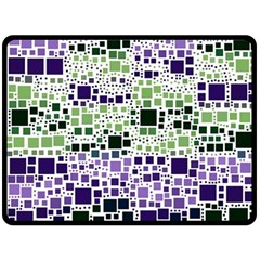 Block On Block, Purple Fleece Blanket (large)  by MoreColorsinLife