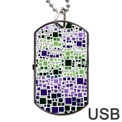 Block On Block, Purple Dog Tag Usb Flash (one Side) by MoreColorsinLife