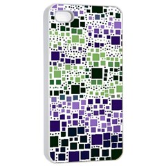 Block On Block, Purple Apple Iphone 4/4s Seamless Case (white)