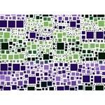 Block On Block, Purple GIRL 3D Greeting Card (7x5) Back