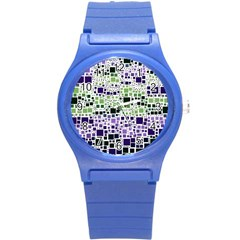 Block On Block, Purple Round Plastic Sport Watch (s) by MoreColorsinLife