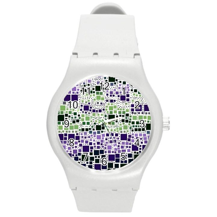 Block On Block, Purple Round Plastic Sport Watch (M)