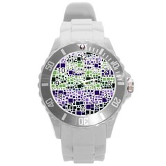 Block On Block, Purple Round Plastic Sport Watch (l) by MoreColorsinLife