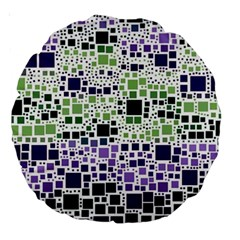 Block On Block, Purple Large 18  Premium Round Cushions by MoreColorsinLife