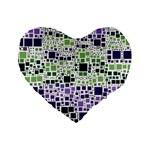 Block On Block, Purple Standard 16  Premium Heart Shape Cushions Front