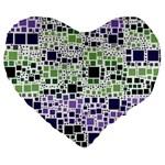 Block On Block, Purple Large 19  Premium Heart Shape Cushions