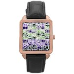 Block On Block, Purple Rose Gold Leather Watch  Front