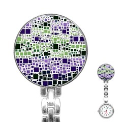 Block On Block, Purple Stainless Steel Nurses Watch by MoreColorsinLife