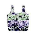 Block On Block, Purple Full Print Recycle Bags (S)  Back