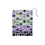 Block On Block, Purple Drawstring Pouches (Small)