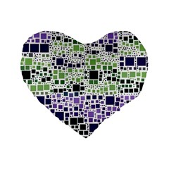 Block On Block, Purple Standard 16  Premium Flano Heart Shape Cushions by MoreColorsinLife
