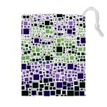 Block On Block, Purple Drawstring Pouches (Extra Large) Front