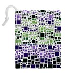 Block On Block, Purple Drawstring Pouches (Extra Large) Back