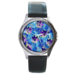 Purple Flowers Round Metal Watch by DanaeStudio
