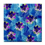 Purple Flowers Tile Coasters Front
