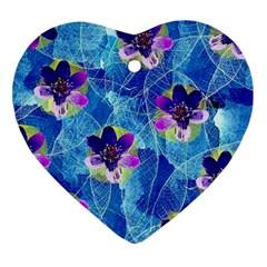 Purple Flowers Ornament (heart)  by DanaeStudio