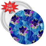 Purple Flowers 3  Buttons (100 pack)  Front