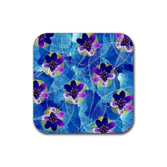 Purple Flowers Rubber Coaster (square)  by DanaeStudio