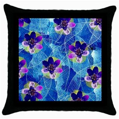 Purple Flowers Throw Pillow Case (black)
