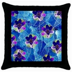 Purple Flowers Throw Pillow Case (Black) Front