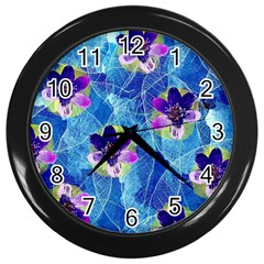 Purple Flowers Wall Clocks (black) by DanaeStudio