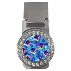 Purple Flowers Money Clips (cz)
