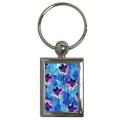 Purple Flowers Key Chains (rectangle)  by DanaeStudio