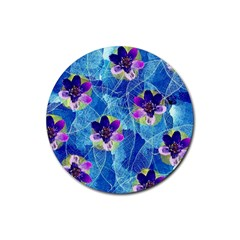 Purple Flowers Rubber Round Coaster (4 Pack)  by DanaeStudio