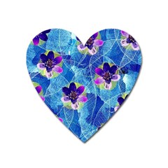 Purple Flowers Heart Magnet