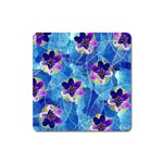 Purple Flowers Square Magnet Front