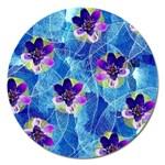 Purple Flowers Magnet 5  (Round)