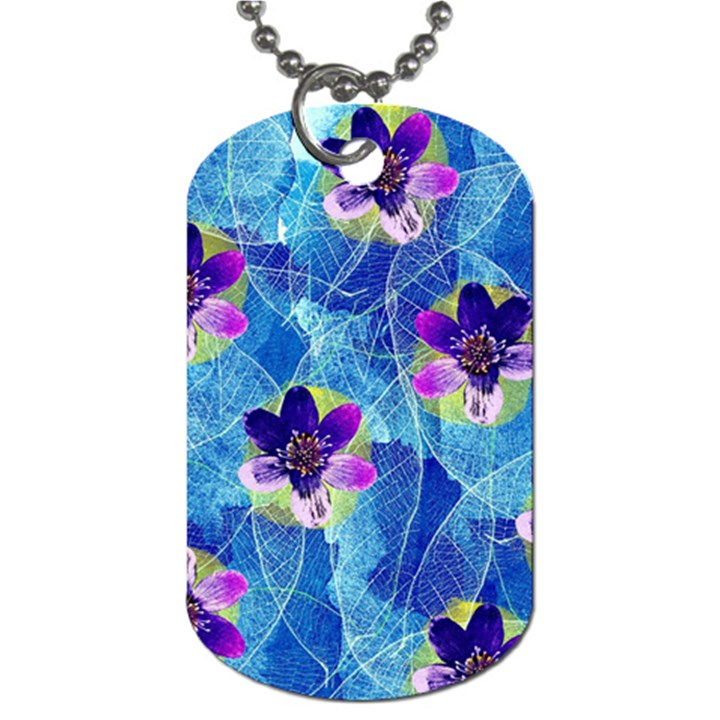 Purple Flowers Dog Tag (One Side)