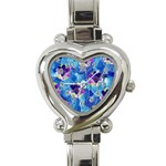 Purple Flowers Heart Italian Charm Watch Front