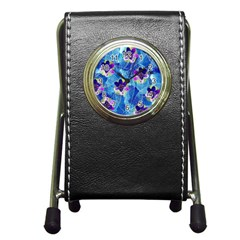 Purple Flowers Pen Holder Desk Clocks