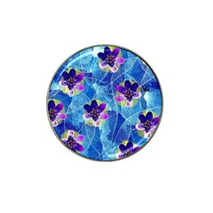 Purple Flowers Hat Clip Ball Marker (4 Pack)