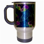 Purple Flowers Travel Mug (Silver Gray) Left