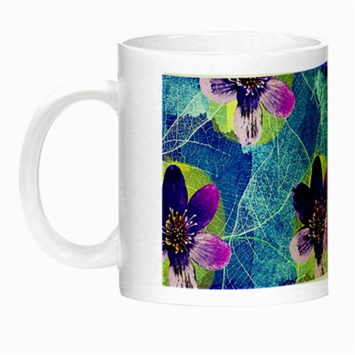 Purple Flowers Night Luminous Mugs
