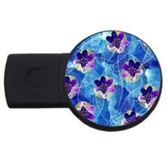 Purple Flowers Usb Flash Drive Round (4 Gb)  by DanaeStudio