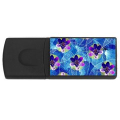 Purple Flowers Usb Flash Drive Rectangular (4 Gb)  by DanaeStudio