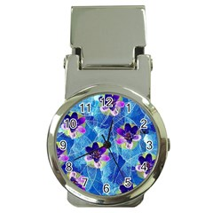 Purple Flowers Money Clip Watches