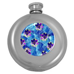 Purple Flowers Round Hip Flask (5 Oz) by DanaeStudio