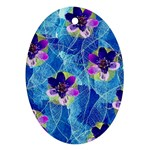 Purple Flowers Oval Ornament (Two Sides) Back