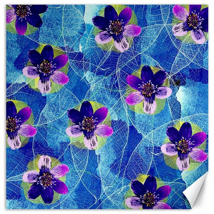 Purple Flowers Canvas 12  x 12