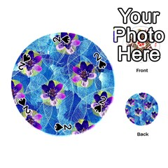 Purple Flowers Playing Cards 54 (round)  by DanaeStudio