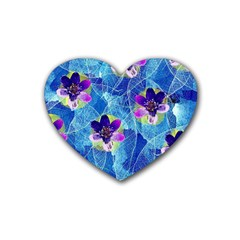 Purple Flowers Rubber Coaster (heart)  by DanaeStudio
