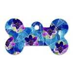 Purple Flowers Dog Tag Bone (One Side) Front